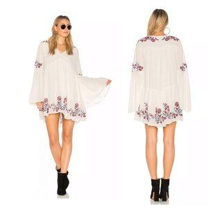 Free People Te Amo Ivory Embroidered Mini Dress